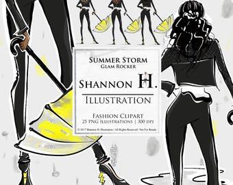 Summer Storm, Glam Rocker, Fashion Illustration Clipart