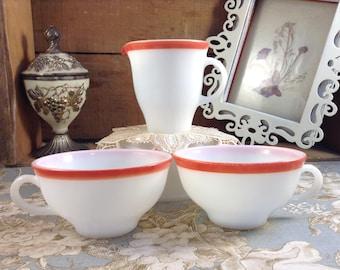 Vintage Pyrex Red Stripe Tea Cup #39 Or Creamer