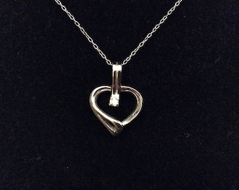 Sterling Silver And Cubic Zirconia Heart Pendant, 925