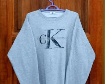 Rare!! CALVIN KLEIN sweatshirt pullover jumper crew neck spell out embroidery nice design big logo grey colour large size