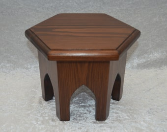 Moroccan Style Hand Made Hexagonal Display Table With Gothic Style Legs Brown