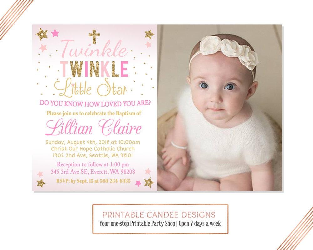 Twinkle Little Star Baptism Invitation Baby Girl Baptism