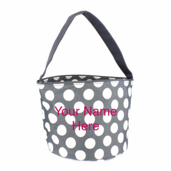 Bucket Tote Personalized Small Grey Polka Dot