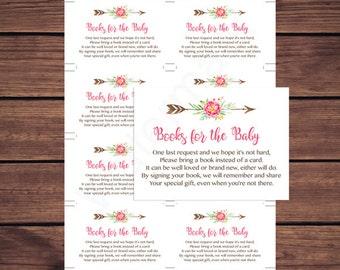 Boho Baby Shower Bring a Book Instead of a Card Insert, Boho Book Request, Floral Deer Antler Book Instant Download 235 Printable