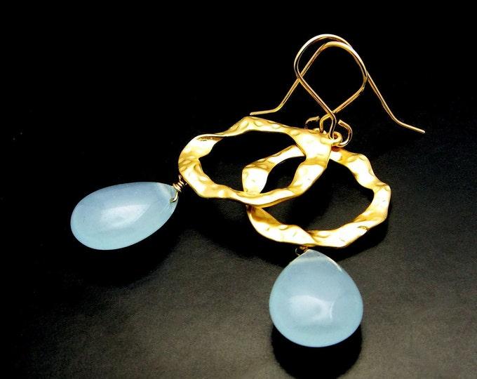 MISTY ~ Blue Chalcedony, 14kt Gold Fill Earrings