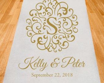 Elegant Swirl Initial Personalized Aisle Runner - Wedding Ceremony Aisle Runner (ppd4)