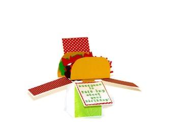 Taco Pop Up Birthday Card, Taco 3D Box Card, Handmade Keepsake Card, Cinco de Mayo, Taco Lover Card, Taco Pun Birthday Card, 3D Taco Card