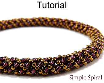 Beading Patterns Jewelry Making Tutorials - Russian Spiral Stitch - Beaded Bracelets Necklaces - Simple Bead Patterns - Simple Spiral #4956