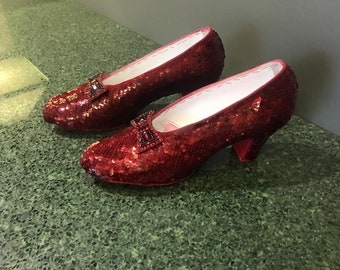 Hand Sewn Ruby Red Slippers, Aged Translucent Version - Approximately 3 month creation time