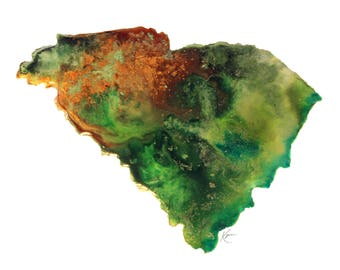 South Carolina Topography Print