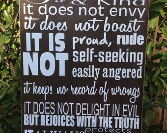 "Love is Patient 1 Corinthians 13:4 Wood Sign 12"" x 20"" Bible Verse Scripture Love is Kind  Wall Home Decor"