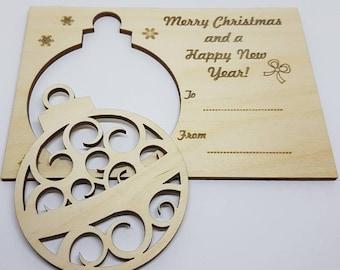Christmas Bauble card - Curls - Birch Plywood 4mm