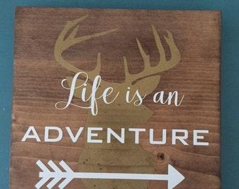 "Wooden Handmade ""Life is an Adventure"" Sign // Handmade Adventure Sign // Life is an Adventure Sign"