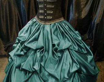 Teal Bustle Pick up Skirt Victorian Renaissance Steampunk Wedding Victorian Rococo custom sized