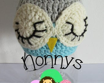Crochet Owl Hat, size 3-6 months, Ready to Post
