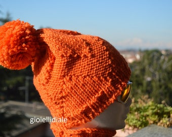 Child hat, pom pom hat, orange hat, wool hat, child neckwarmer, wool neckwarmer, orange neckwarmer, wool beanie, children beanie