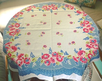 Vintage Tablecloth Pink Floral French Blue Rose Red Printed White Midcentury