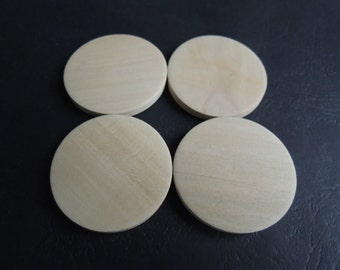 12 Pcs 40mm Natural Flat Wood Circles Wooden discs no hole (W939)