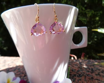 585 gold filled with sparkly crystal in romantic rose gold earrings