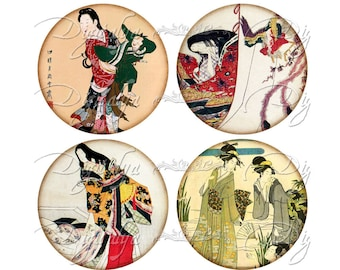 JAPANESE LADIES (2) Digital Collage sheet - Circles 2.5 inch - 63mm for Pocket Mirror & craft - Buy 3 Get 1 Extra Free - Instant Download