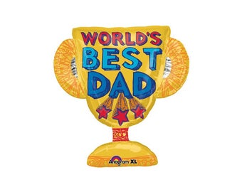 Best Dad Trophy Foil Balloon, Father's Day, Party, Theme, Hanging, Decorations, Supplies