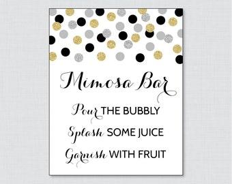 Mimosa Bar Sign in Black and Gold Glitter Dots - Bridal Shower Mimosa Bar Sign Printable - Black, Silver and Gold Glitter Dots - 0001-K