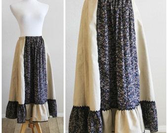 Vintage 60's 70's CAREFREE Fashions Peasant Gunne Sax Style Navy Calico Rick Rack Skirt Hippie Boho Bohemian Festival