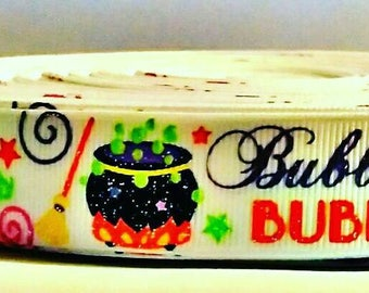"""7/8"""" USDR bubble bubble toil and trouble Halloween grosgrain ribbon by the yard"""