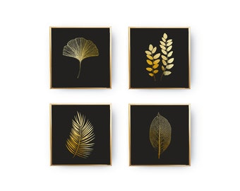 Black Background Color, SET of 4 Prints, Leaves Prints, Botanical Leaves, Minimalist Art, Real Gold Foil, Leaves Set, Botanical Poster Set