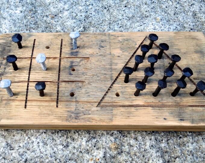 Whiskey Barrel Tic Tac Toe & Triangle Peg Game - Bourbon Bar Games