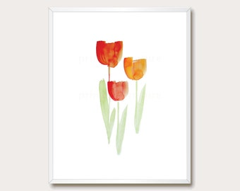Tulip Print. Spring Wall Art. Spring Print. Watercolor. Tulip Wall Art. Tulip Printable. Spring Flowers. Instant Download