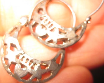 Silver Filigree Earrings Pierced Hoop Earrings Lovely Vintage Openwork Small Hoops Hoop Pierced Earrings