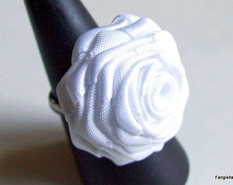 A pink satin white on Adjustable ring silver ring