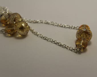 Golden Crystal necklace and earring set