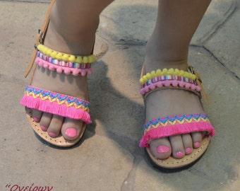 """Sandals for girls""""baby """"Korina"""",Boho Girls Sandals ,Girls Leather Shoes,Leather Baby Sandals,Greek Girls Sandals,Baby Sandals,Kids Sandals"""