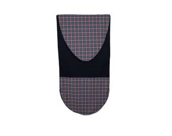 Surfboard Bag in Red & Blue Plaid on Black - Surfboard Sock with Zipper Closure and Easy Slide Wax Repellent Interior