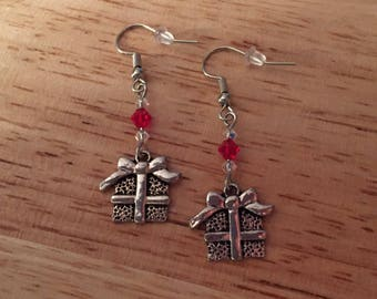 Christmas Present Earrings with Swarovski Crystal accents