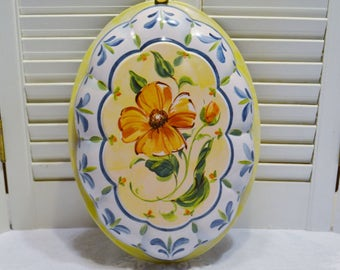 Vintage Metal Mold Form Painted Floral Design Hanging Wall Decor Spring Summer Yellow Blue PanchosPorch