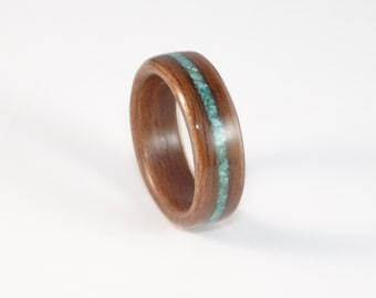 Bent Wood Ring, Rosewood with Turquoise Inlay, Mens Wood Ring, Womens Wood Ring, Wood Engagement Ring, Wood Wedding Band, Wooden Ring