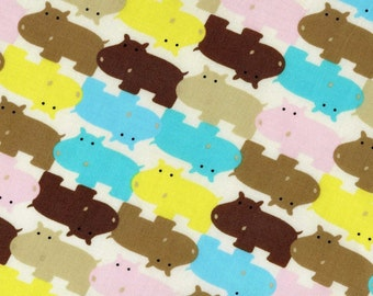 Japanese Cotton Fabric - Colorful Hippos - Half Yard - LAST PIECE
