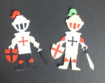 2 Assembled KNIGHTS Greeting Cards Scrapbooking Dress up dolls