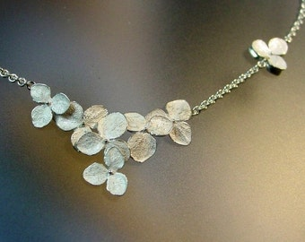 Floral Necklace, Hydrangea Flower Cluster Necklace, Sterling Flower Wedding Necklace, Delicate Necklace, Made to order