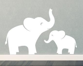 Mom & Baby Elephant Wall Decal Set - Jungle Safari - Children - Boy Girl