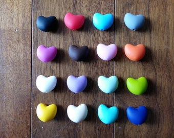 Lot of 25 Silicone Heart Beads