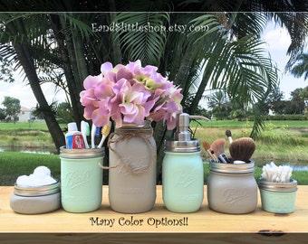 Mason Jar-Bathroom Set-Wedding Gift-Bathroom Accessories-Farmhouse Decor-Shabby Chic Decor-Housewarming gifts-Painted Mason Jars-Gray-Mint