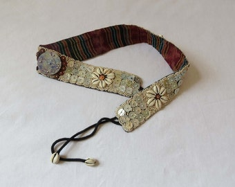 Vintage Belt - Boho, Hippie Shell Tie Belt - Mother of Pearl - 1980s, 1990s Vintage