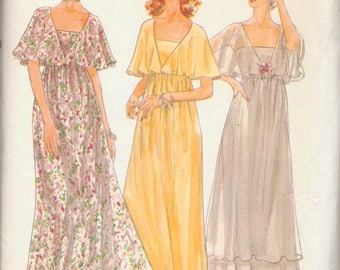 Vintage Vogue Evening Dress Pattern, Empire Waist Dress with Attached Capelet, Size 8, Bust 31 Inches