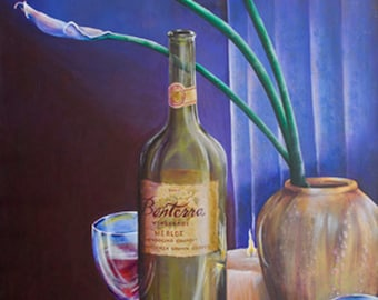 Original art acrylic painting large 24x36 stretched canvas wine bottles Merlot for 2