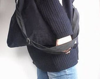 Handmade handbag, black velvet tote, light weight, three handles, suitable for all year, zipper, basic, wardrobe bottom