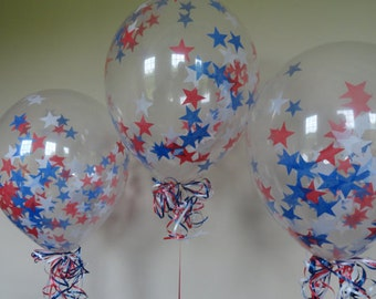 4th of July Decoration 5 Balloons Kit with Red White and Blue Stars Confetti & Baker's Twine Patriotic Decoration Star Confetti July 4th